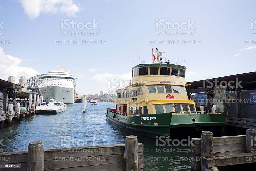 Sydney Ferry and Ocean Liner royalty-free stock photo