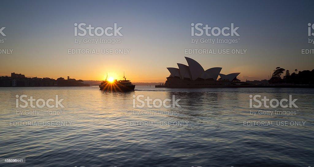 Sydney Ferry & Opera House A Dawn royalty-free stock photo