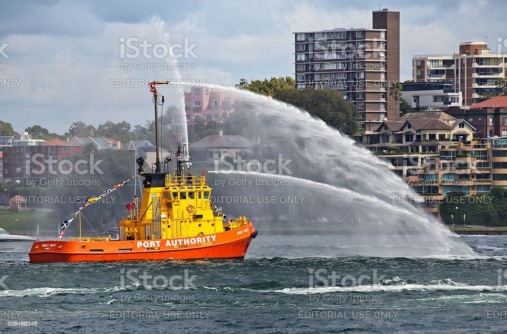 Sydney firefighting tug on Australia Day stock photo