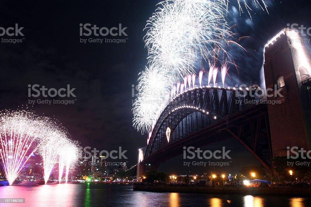 sydney fireworks display stock photo
