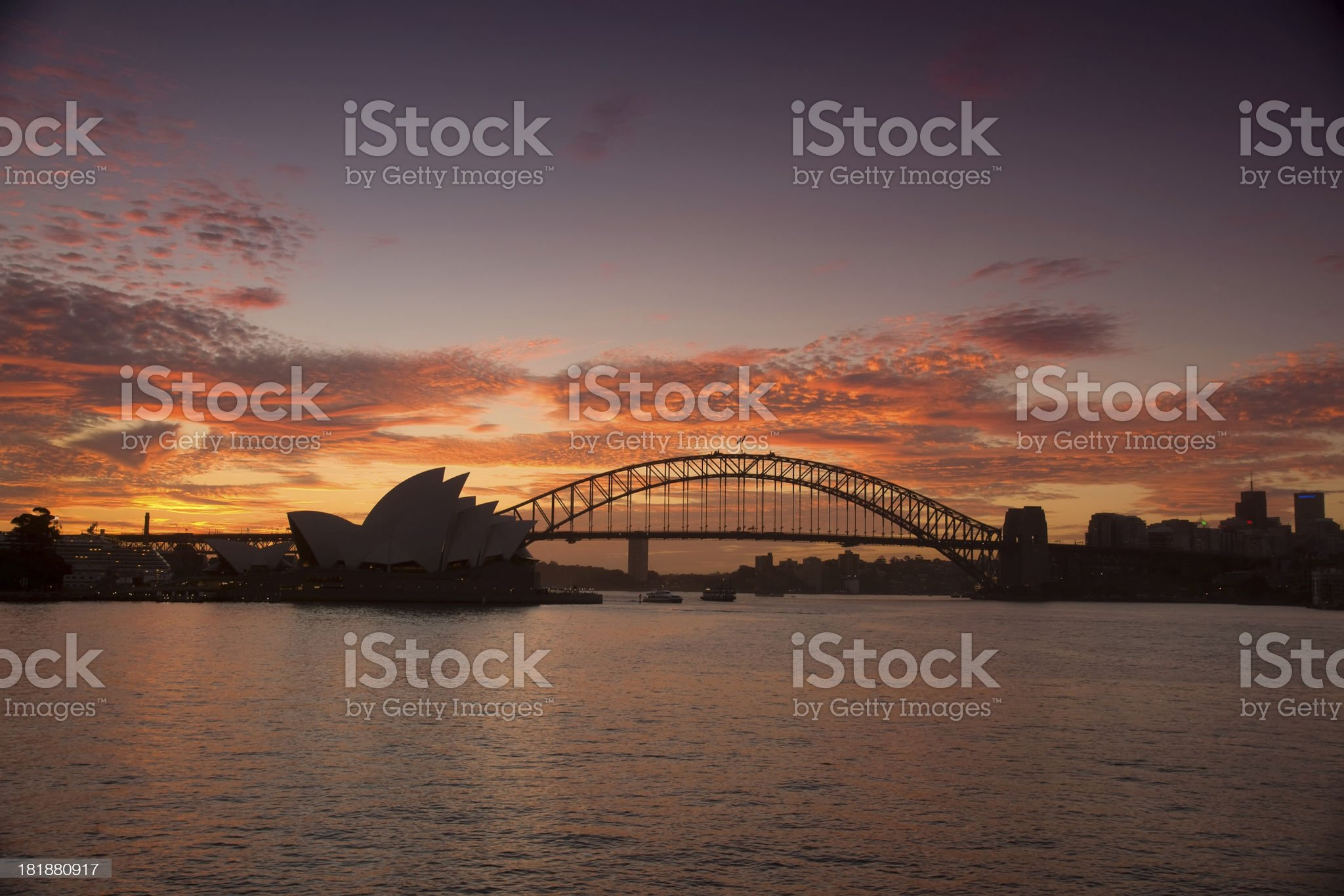 Sydney from Mrs Macquaries Point (Sunset) royalty-free stock photo