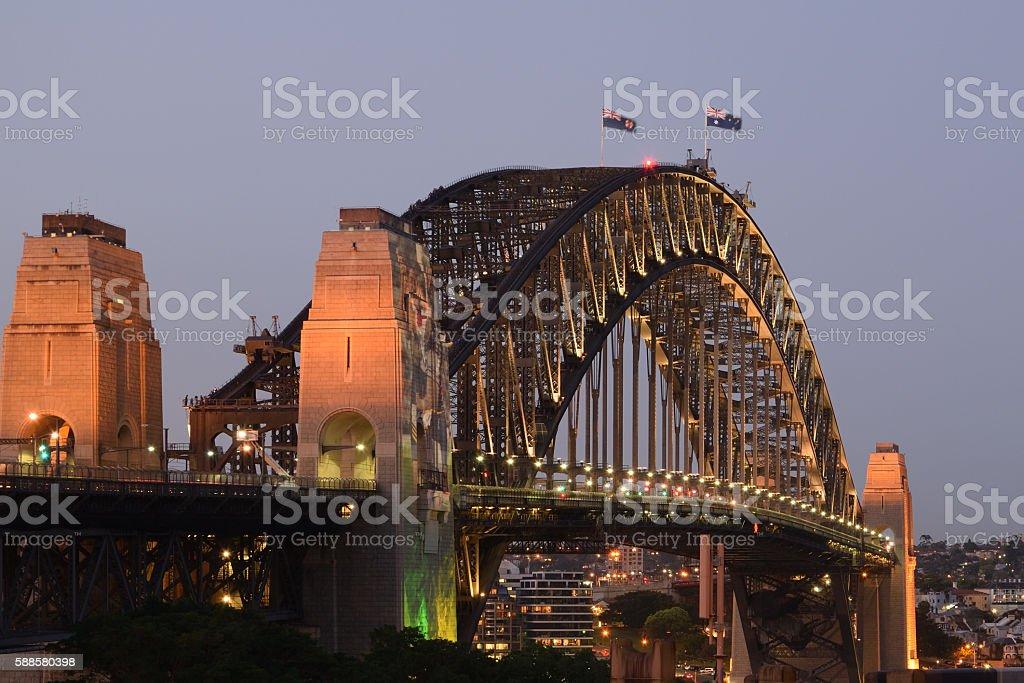 Sydney Hafen, Harbour Bridge stock photo