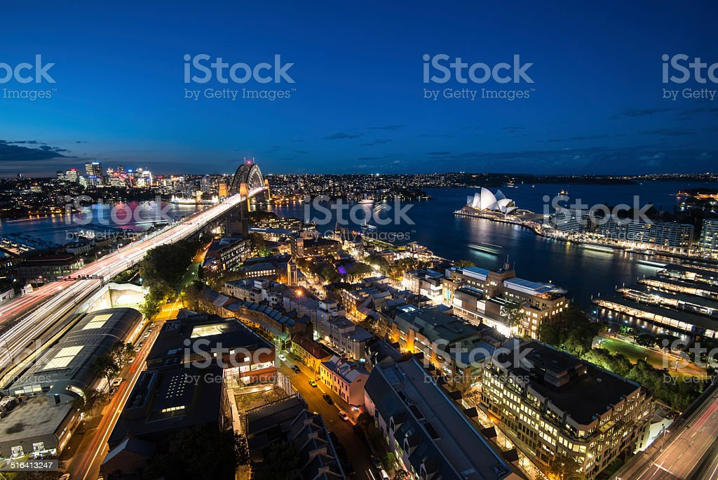Sydney Harbor at Dusk stock photo