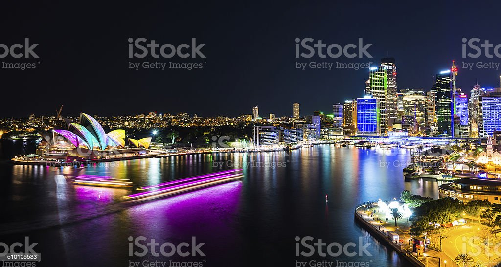 Sydney Harbor at night stock photo