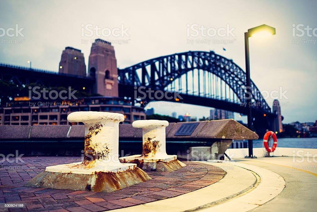 Sydney Harbor Bridge at dusk stock photo