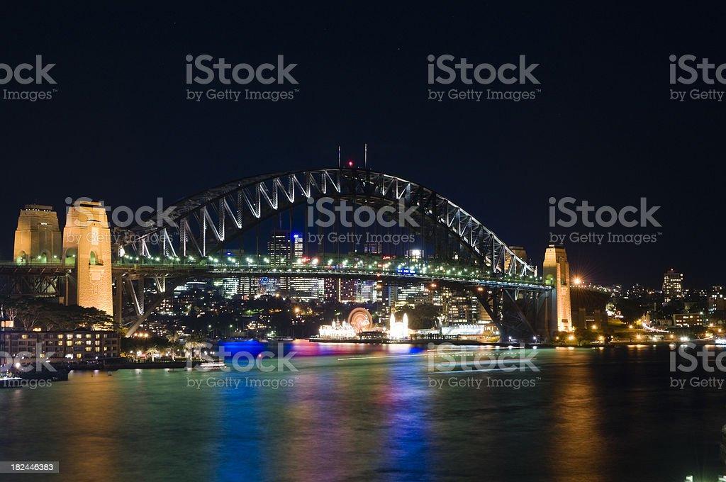 Sydney Harbor Bridge at Night royalty-free stock photo