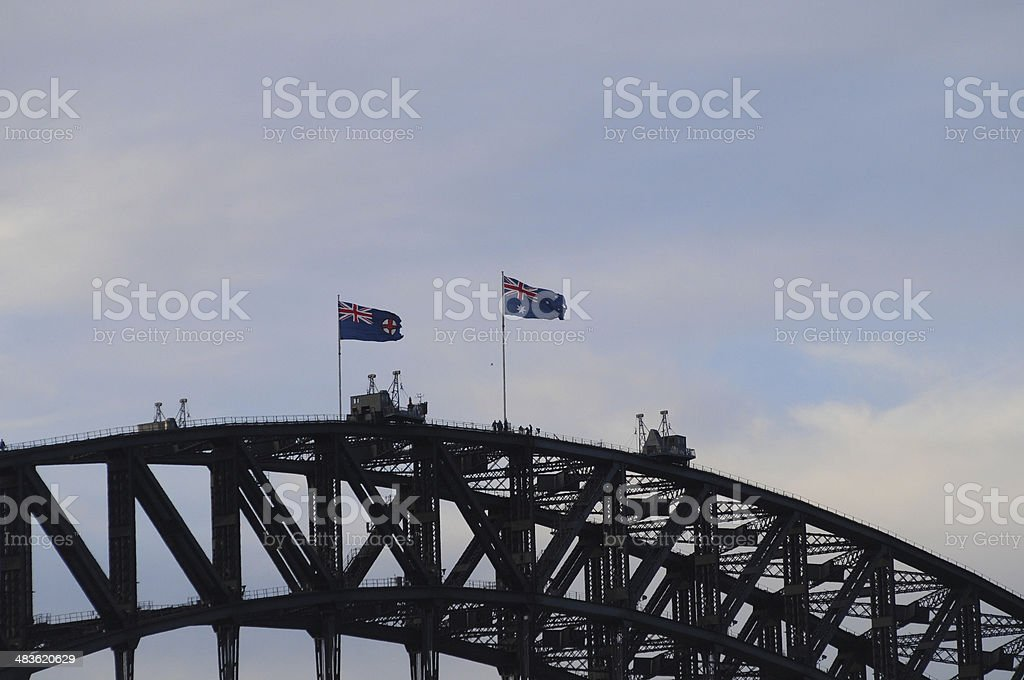 Sydney Harbor Bridge climbing by tourists stock photo