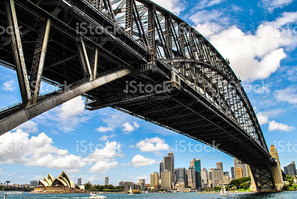 Sydney harbor bridge in Australia stock photo