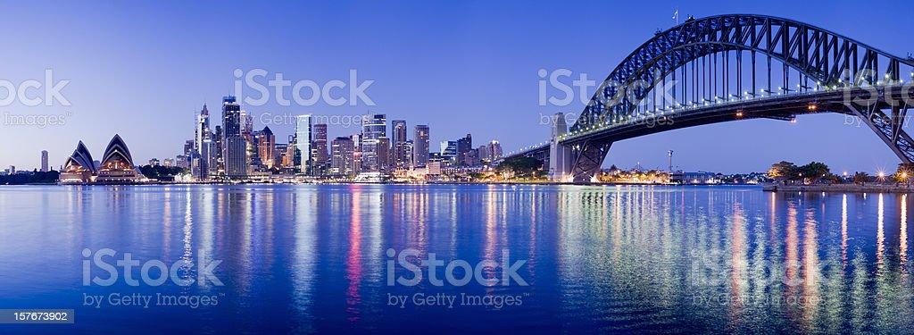 Sydney Harbour Bridge and City Skyline in Australia stock photo