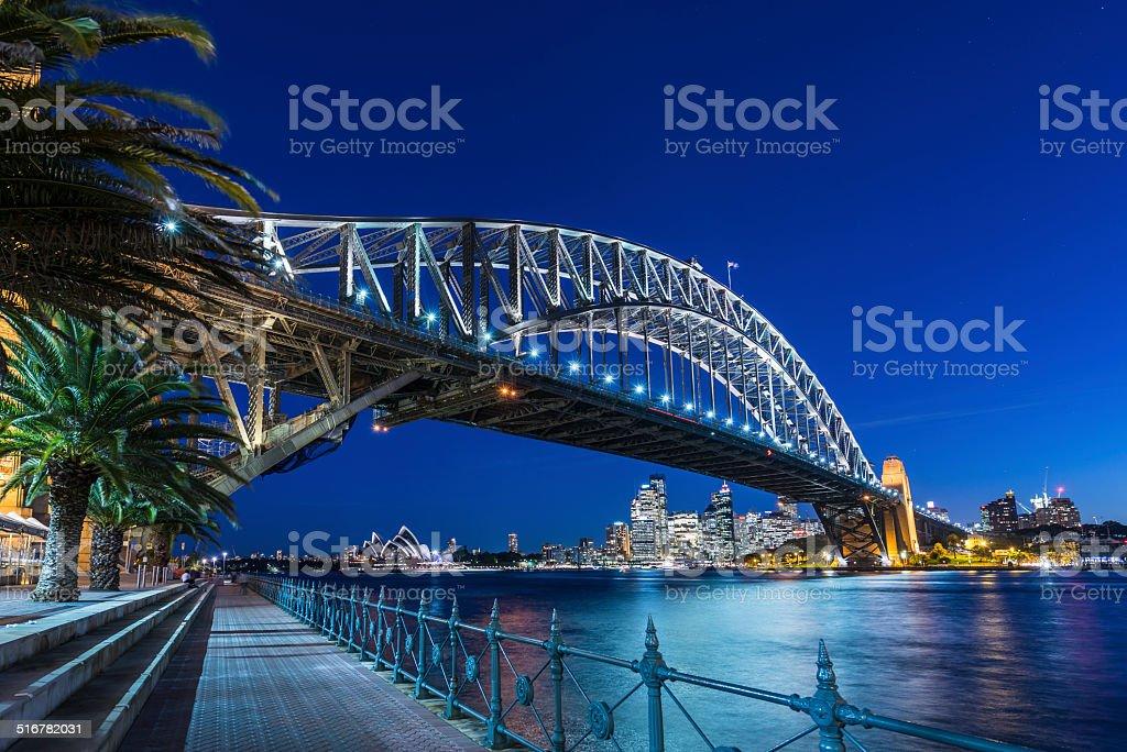 Sydney Harbour Bridge and Cityscape Illuminated at Dusk, Australia stock photo