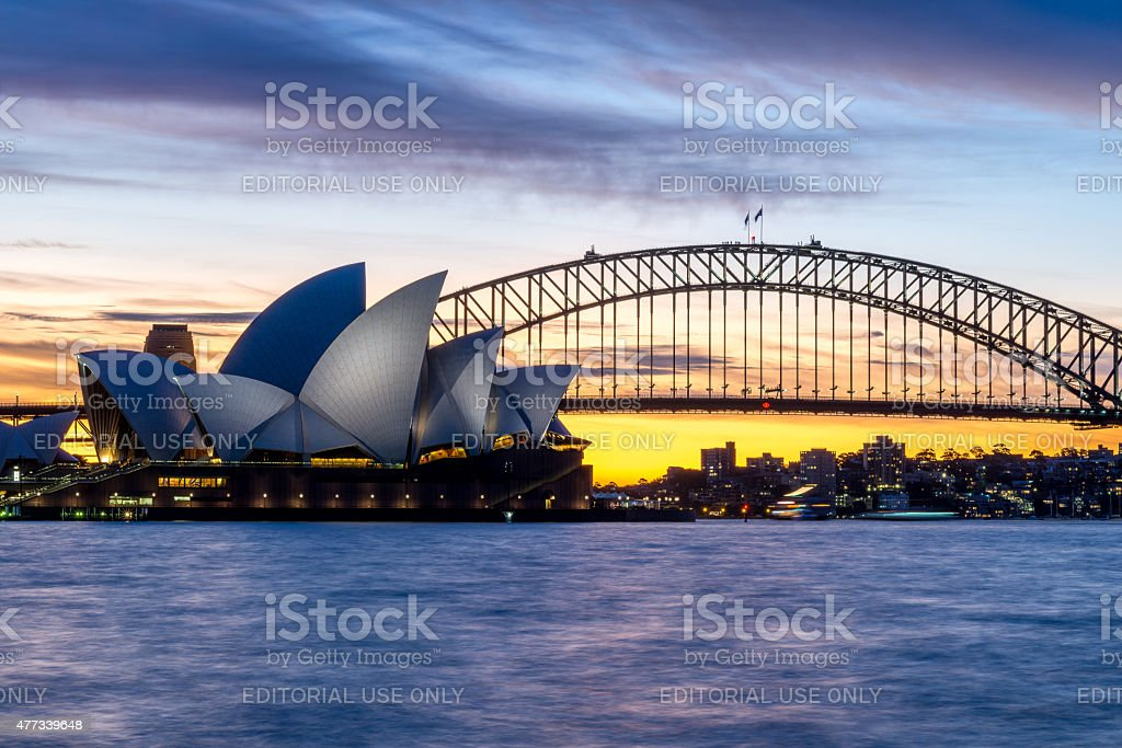 Sydney Harbour Bridge and Opera House at dusk stock photo