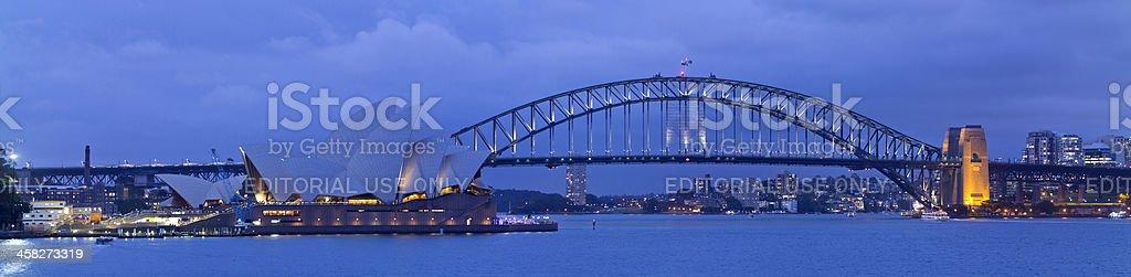 Sydney Harbour Bridge and Opera House at Night royalty-free stock photo