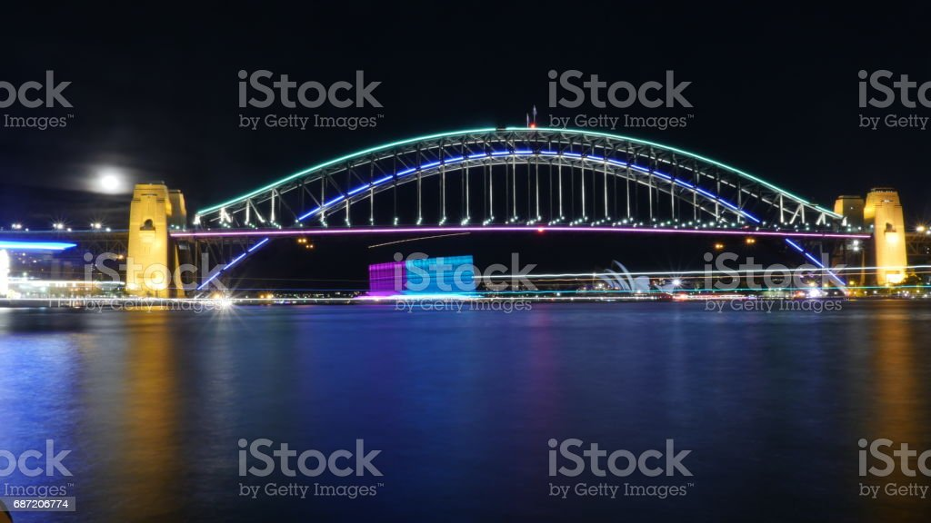 Sydney Harbour Bridge and Opera House Australia Night 4k stock photo