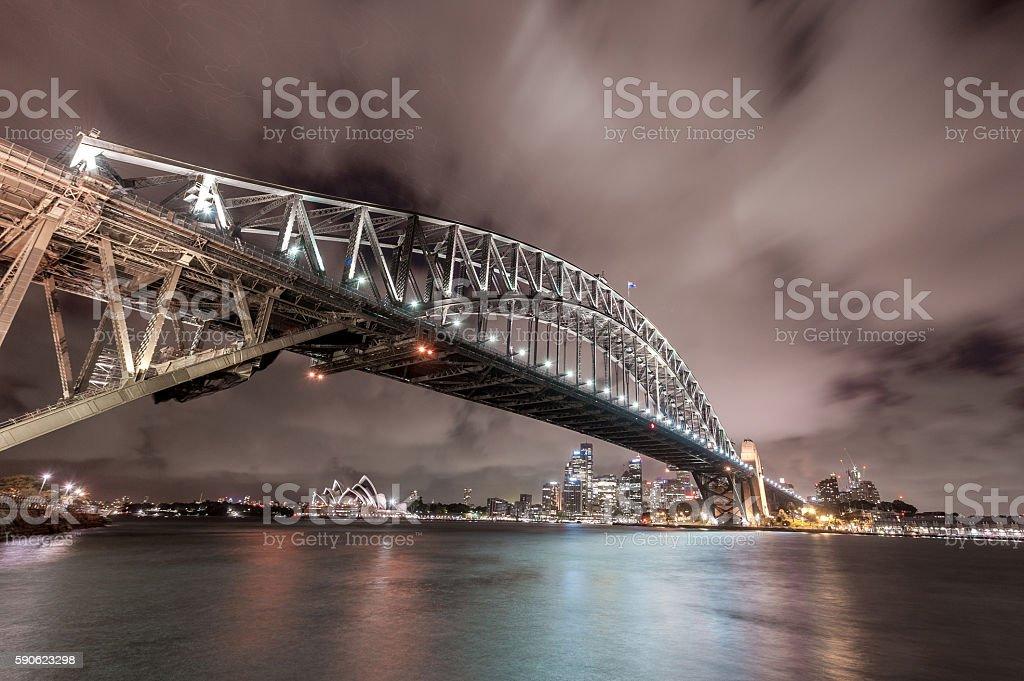 Sydney Harbour Bridge and Opera House. Long Exposure. Flowing Sky stock photo