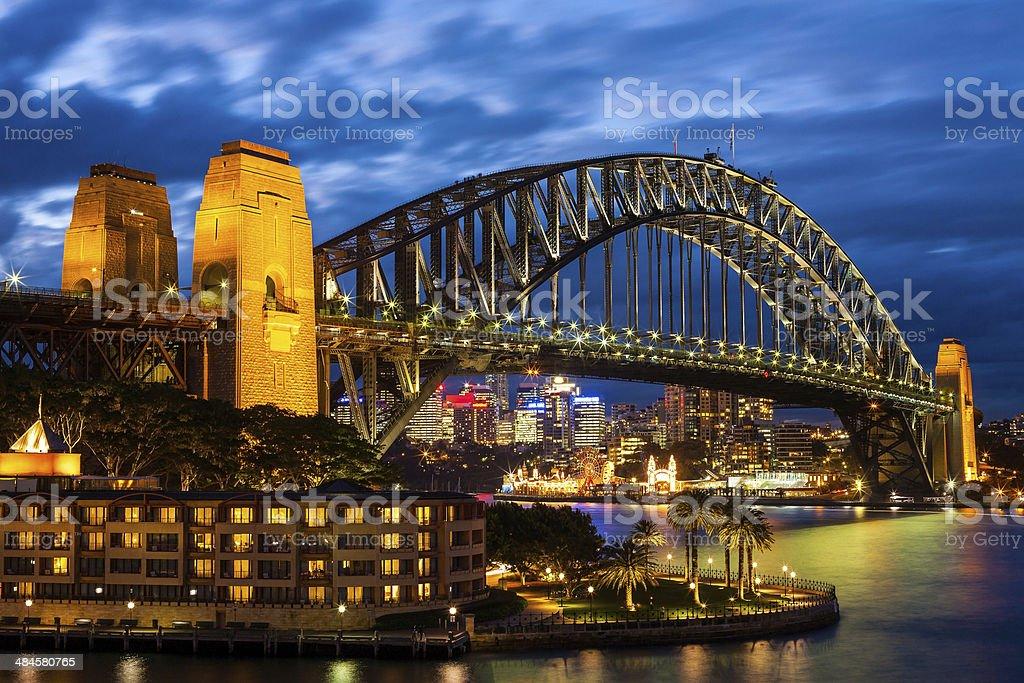 Sydney Harbour Bridge at Blue Night stock photo