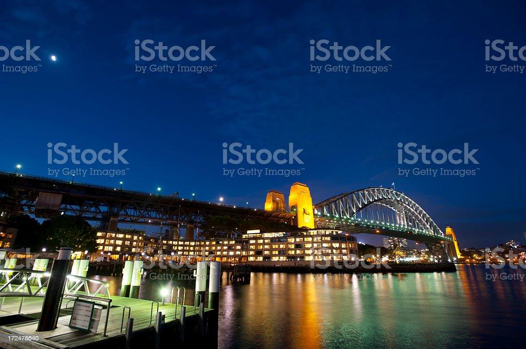 Sydney Harbour bridge at dusk royalty-free stock photo