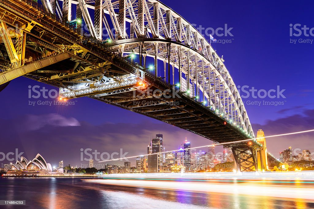 Sydney Harbour Bridge at Night Australia stock photo