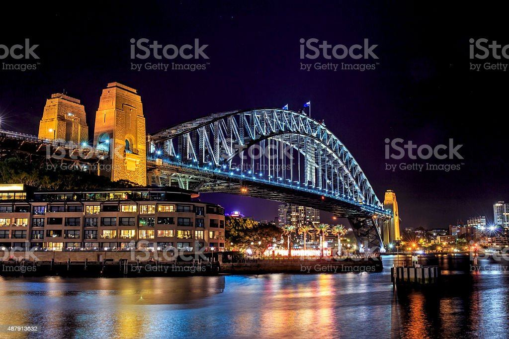 Sydney Harbour Bridge at Night stock photo
