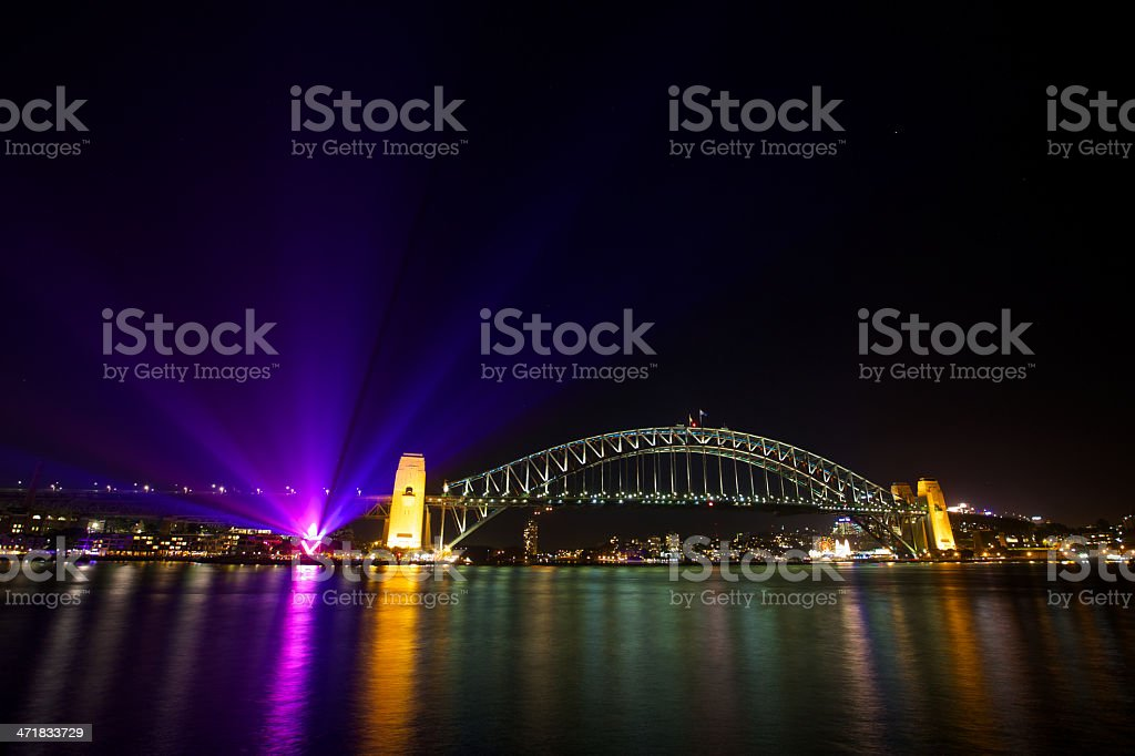 Sydney Harbour Bridge during Vivid Festival royalty-free stock photo