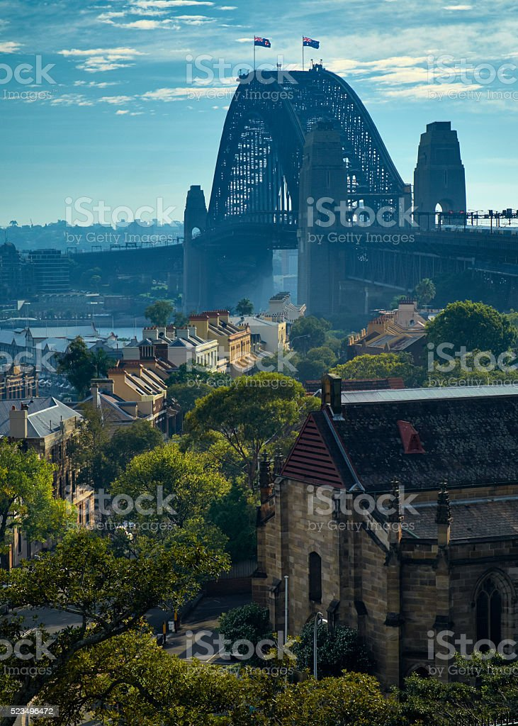 Sydney Harbour Bridge From Observatory Hill stock photo