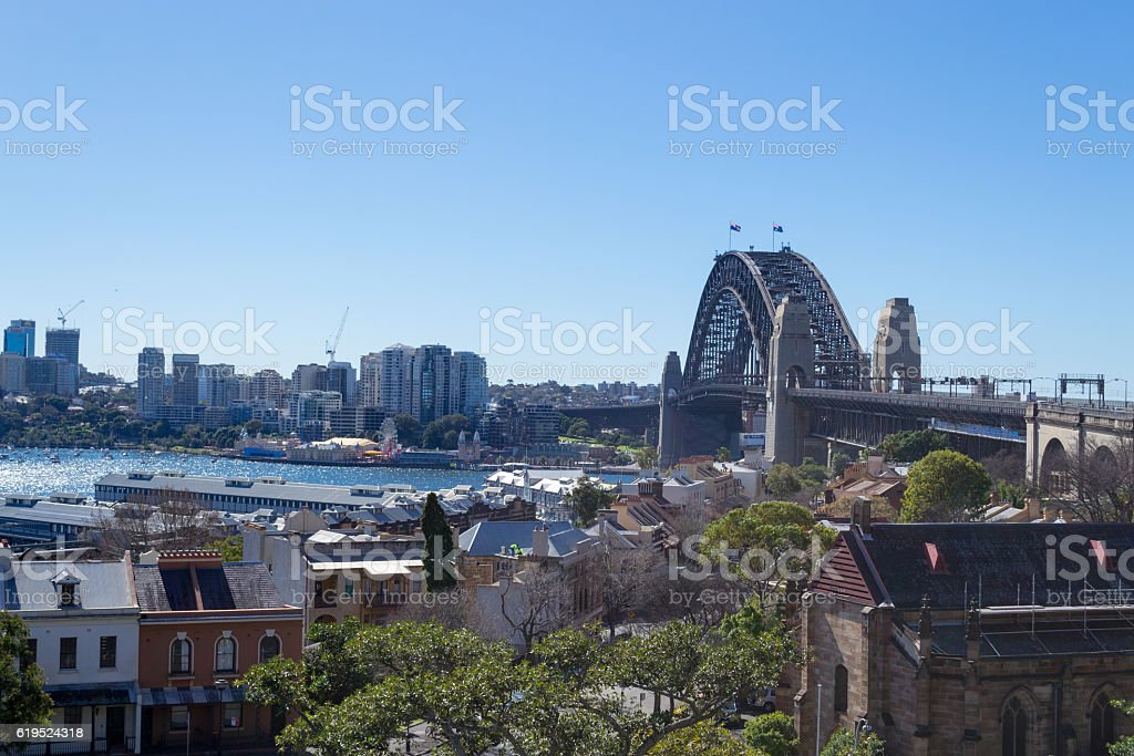 Sydney harbour bridge from the observatory hill stock photo