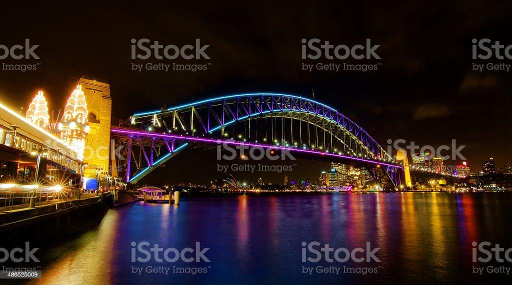 Sydney Harbour Bridge illuminated for the Vivid Art Festival stock photo