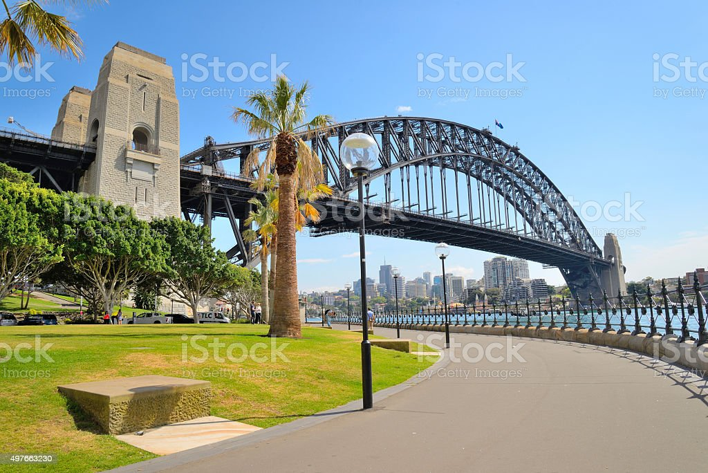 Sydney Harbour bridge in bright blue sky stock photo