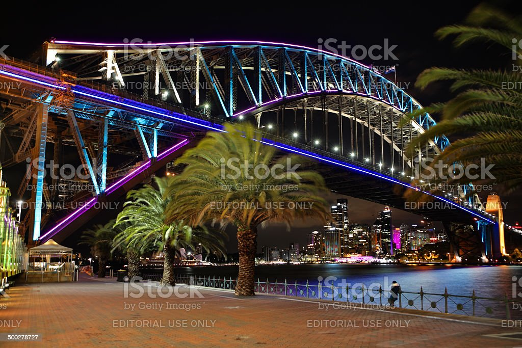 Sydney Harbour Bridge in pink blue and aqua royalty-free stock photo