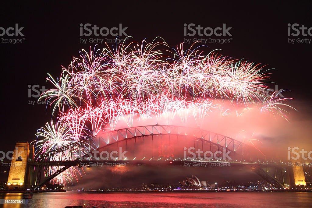 Sydney Harbour Bridge New Year Fireworks royalty-free stock photo