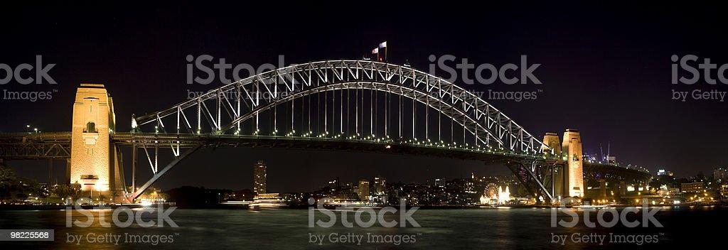 Sydney Harbour Bridge Night Panorama royalty-free stock photo