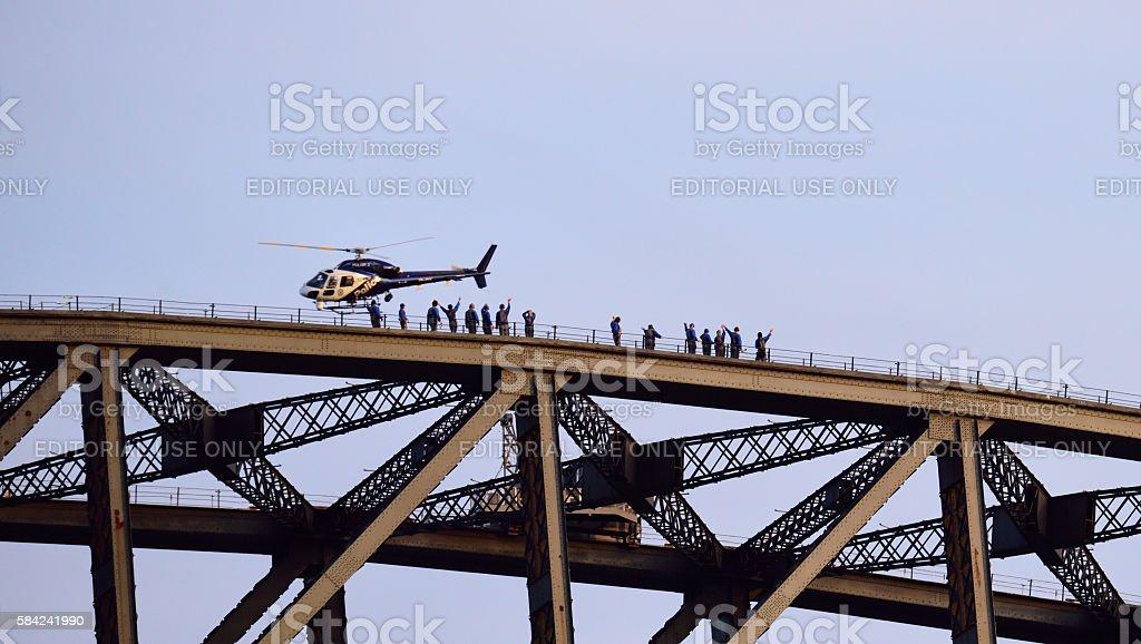 Sydney Harbour Bridge, people walking on top stock photo