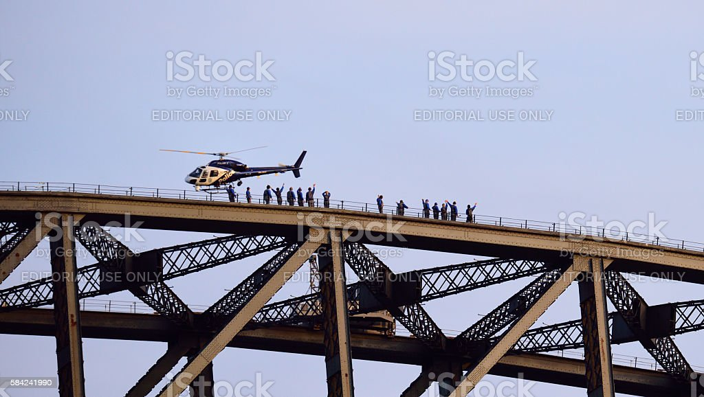 Sydney Harbour Bridge, people walking on top stock photo