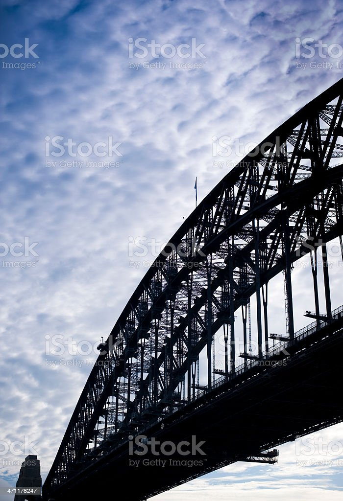 Sydney Harbour bridge sillohete clouds royalty-free stock photo