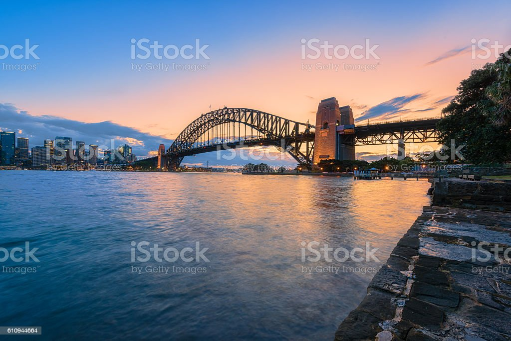 Sydney Harbour Bridge Sydney Australia at sunset stock photo