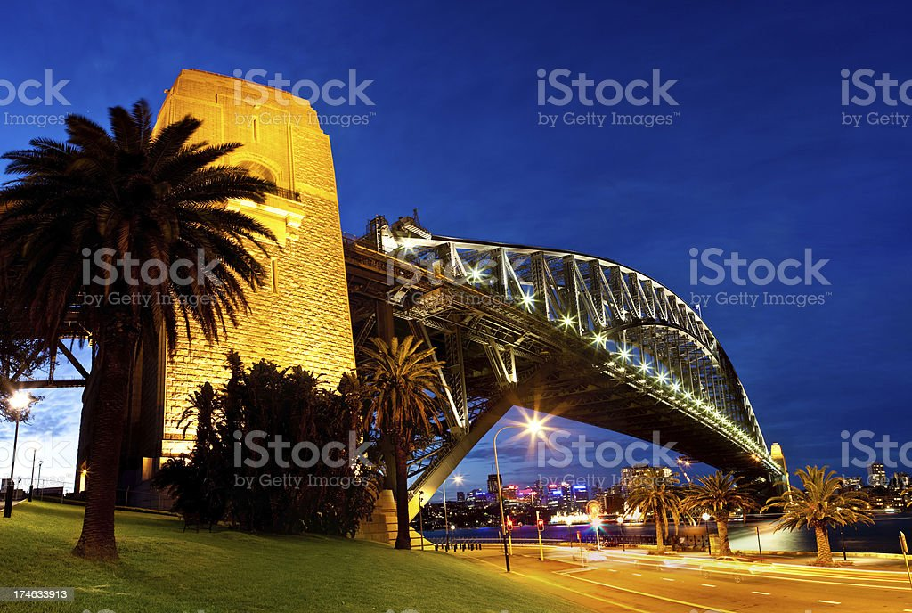 Sydney Harbour Bridge Twilight Panorama royalty-free stock photo