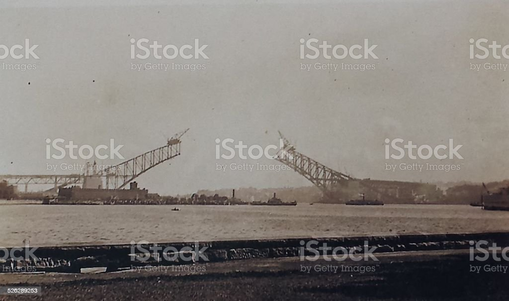 Sydney Harbour Bridge under construction stock photo