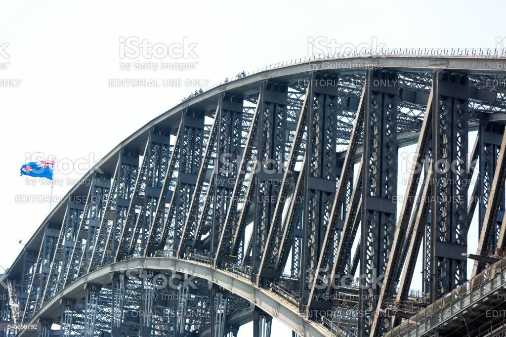 Sydney Harbour Bridge, white background with copy space stock photo