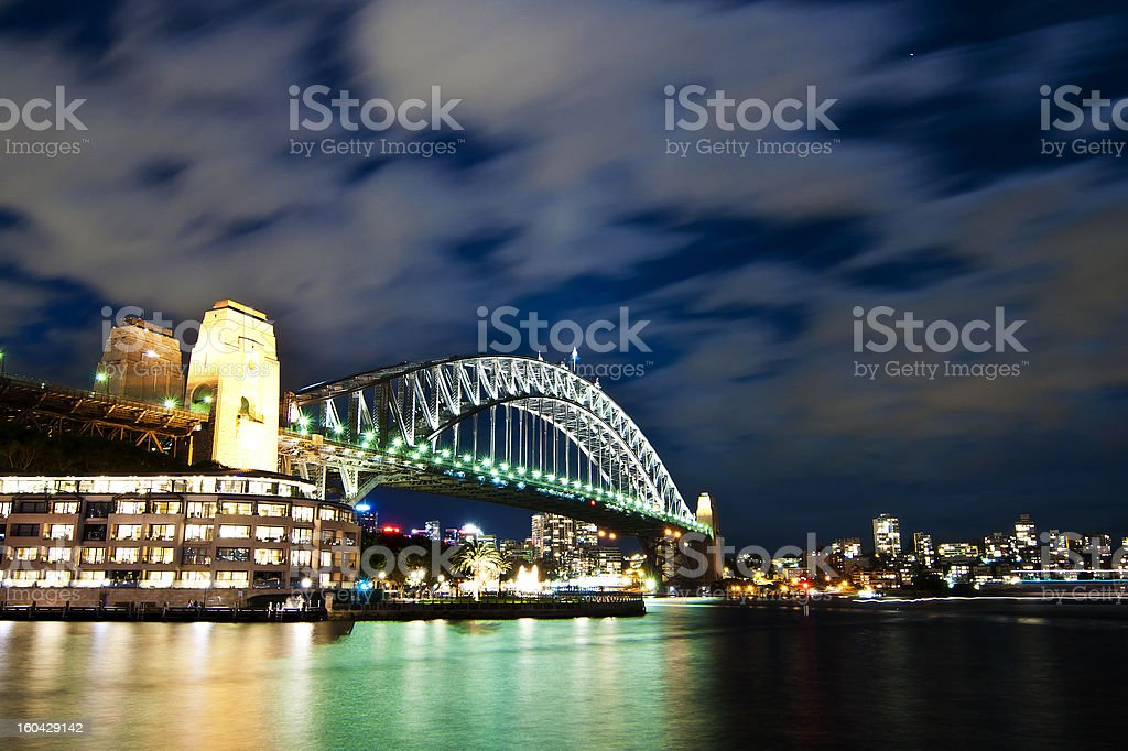 Sydney harbour bridge with moving clouds royalty-free stock photo