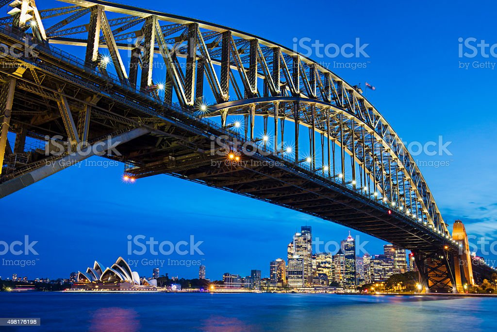 Sydney Harbour Bridge with opera house in the background stock photo