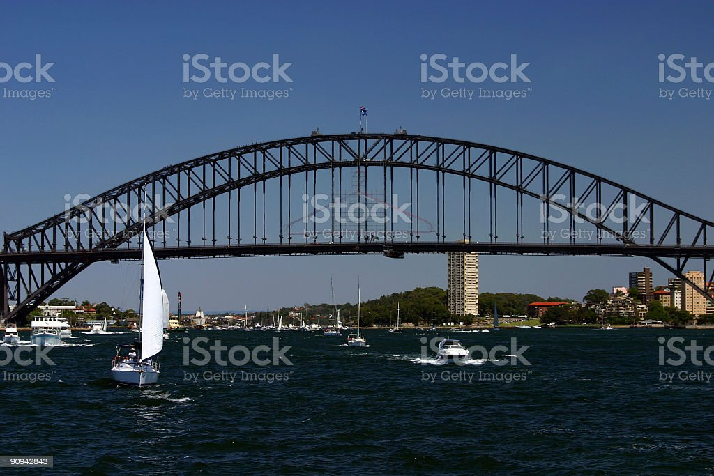 sydney harbour bridge with sail boat royalty-free stock photo