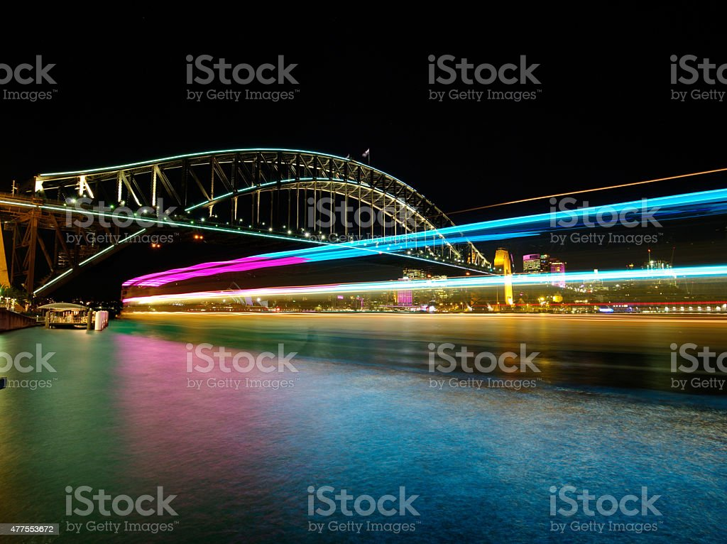 Sydney Harbour during Vivid light festival royalty-free stock photo