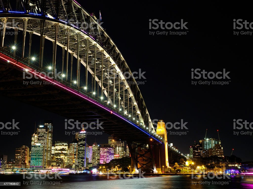 Sydney Harbour during Vivid light festival royalty-free stock photo