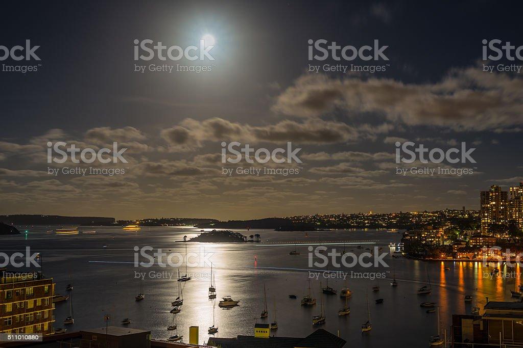 Sydney Harbour in the moonlight stock photo