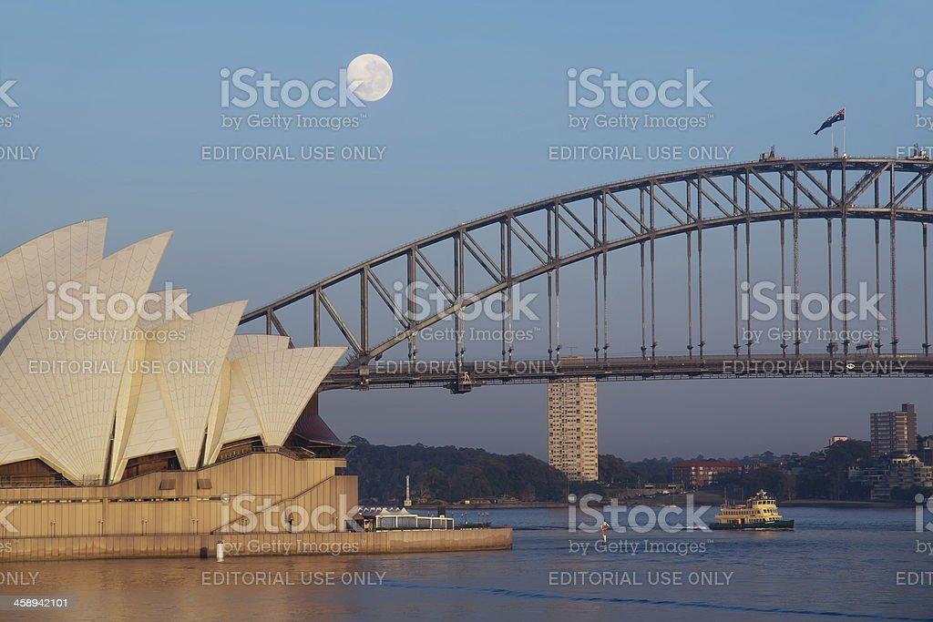 Sydney Harbour Moonset stock photo