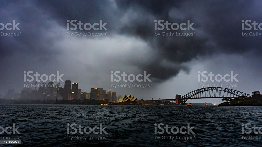 Sydney Harbour Skyline Storm stock photo