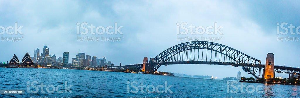 Sydney Harbour Skyline Storm stock photo