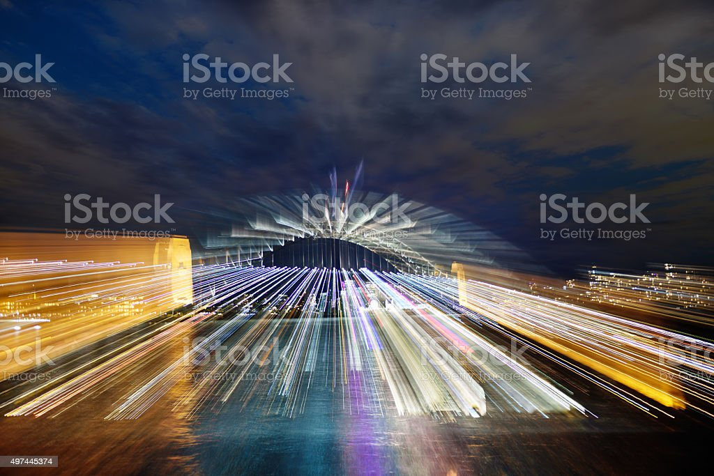 Sydney Harbour view, zoomed night stock photo