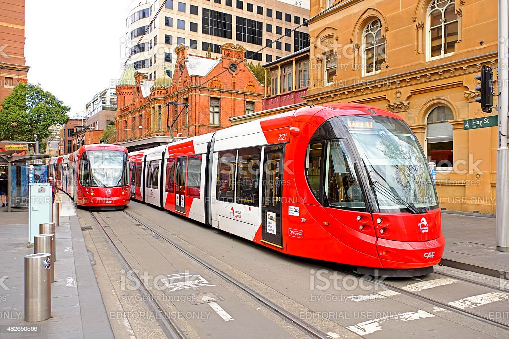 Sydney Light Rail trams at Hay Street accessible stop stock photo