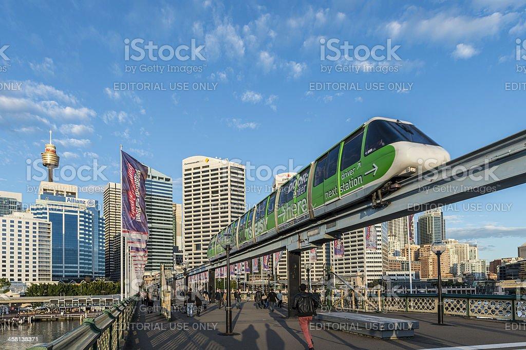 Sydney Monorail,  Darling Harbour,  Australia against Blue Sky stock photo