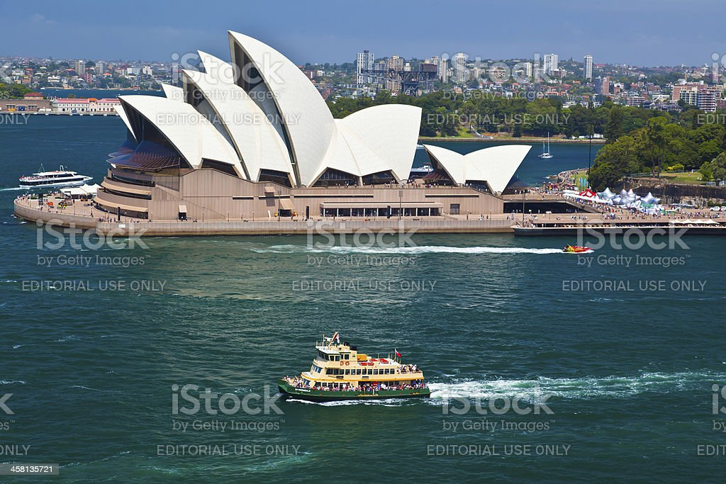 Sydney Opera House and a Harbour Ferry departing Circular Quay royalty-free stock photo